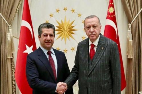 سهرۆك كۆمارى توركیا پێشوازى له سهرۆكى حكوومهتى ههرێمى كوردستان دەکات